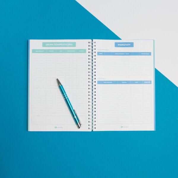 Terapeutnik Mindness - strony kalendarza dedykowane na zapiski z warsztatów i psychoterapii grupowej